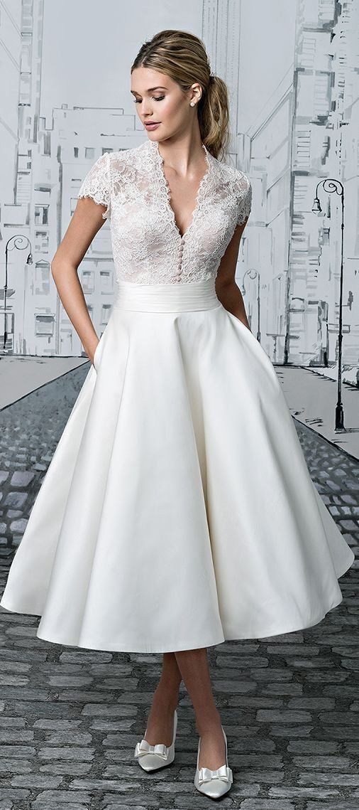 Short Wedding Dresses V Neck Lace Tea Length Ivory Simple Vintage Bridal Gown Jkw258 Wedding Dresses 2017 Trend Casual Wedding Dress Short Wedding Dress