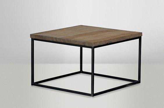 Soffbord med underrede i svart metall med skiva av återvunnet trä som ger bordet en vacker patina. Varje bord är unikt. Finns i flera storlekar.  MÅTT: 40x40 cm, H: 37 cm 50x50 cm, H: 37 cm 60x60 cm H: 37 cm 80x80 cm, H: 37 cm  MATERIAL: Återvunnet trä