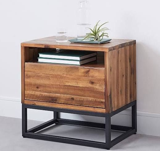 Wood And Metal Nightstand Furniture Wood Nightstand Vintage Industrial Furniture