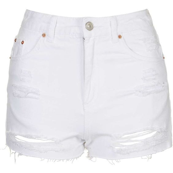 TOPSHOP MOTO White Rip Mom Short ($21) ❤ liked on Polyvore ...