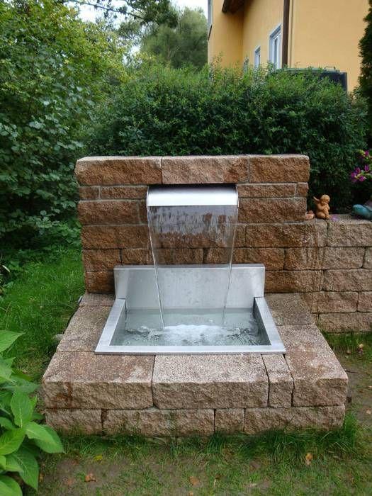 Wasserfallbrunnen Fur Den Garten Pool Der Teich Individuell Gefertigte Schone Ideen Brunnen Garten Wasserspiel Garten Hinterhof Pool Landschaftsbau
