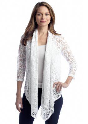 Ruby Rd  St. Tropez Swirl Crochet Lace Cardigan