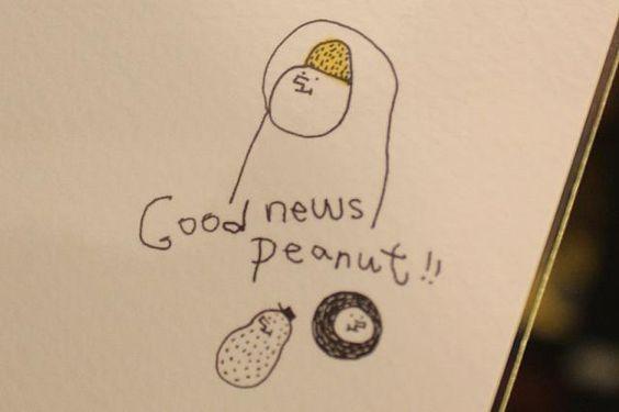 裏にはGood news Peanut!!の文字と1粒ピーナッツが飛び出ています