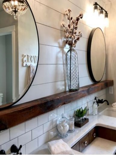 Do you get inspired by Joanna Gaines and the neutral design aspect. This farmhouse bathroom is dreamy. If you are looking for the perfect white shade this paint guide will help you pick the best farmhouse color to create your dream home on a budget. #farmhousepaint #farmhousebathroom #paintcolor #whitebathroom #diyshiplap #rusticbathroom