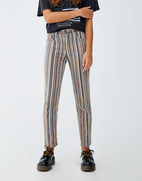 Vertical Multistripe Print Trousers Pull Bear Pantolon Giyim