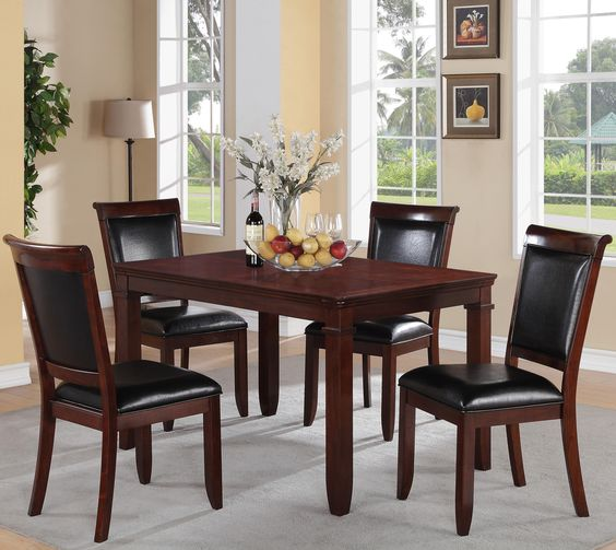 Dallas piece dining table and upholstered chairs set by