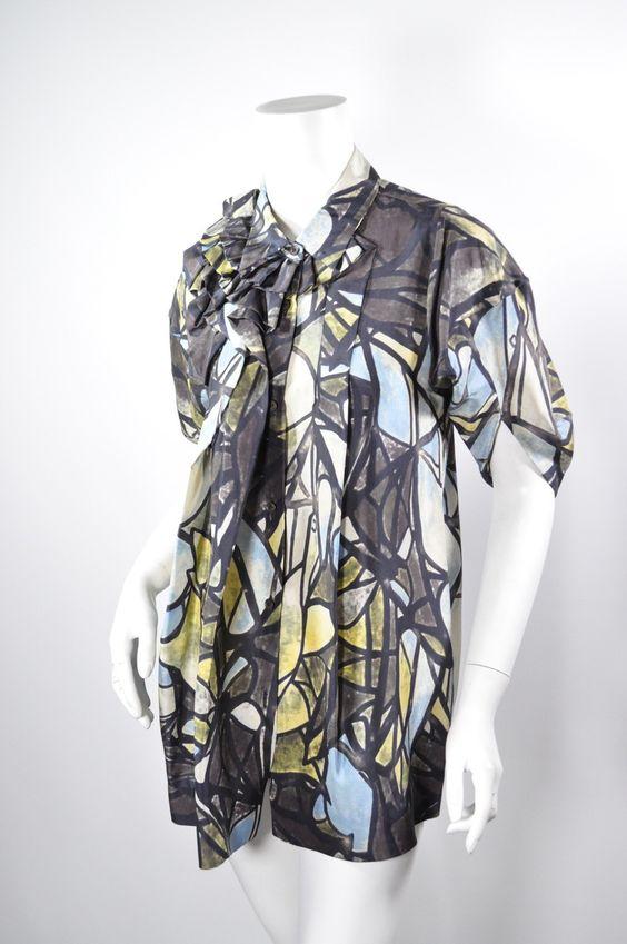 MARNI Brown/Black/Multi Silk Tunic Top Sz38
