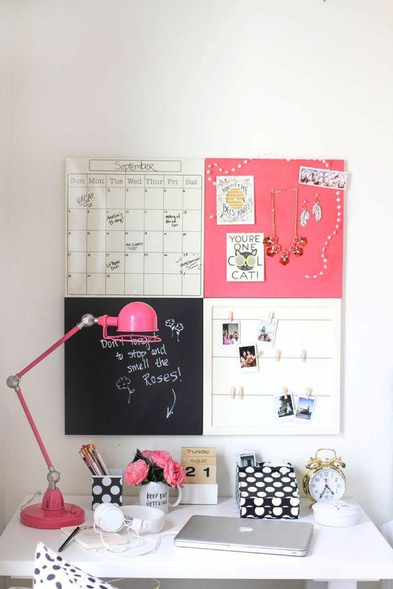"""Melhor painel impossível! Ótima ideia combinar: calendário, quadro negro, espaço para polaroids e ainda um """"porta jóias"""" :"""