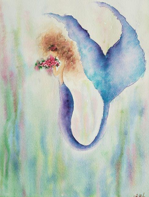 Blue Pearl Art Matilda Faceless Beauty Mermaid Watercolor Paintings Under The Sea Mermaid Nature Art Drawings Watercolor Art Art Drawings Beautiful
