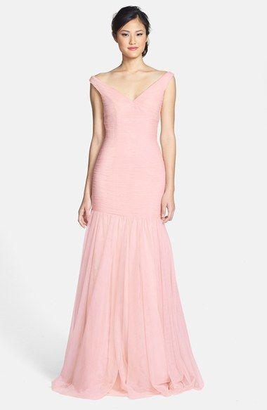 Monique Lhuillier Bridesmaids Tulle Pastel Salmon Pink Trumpet ...