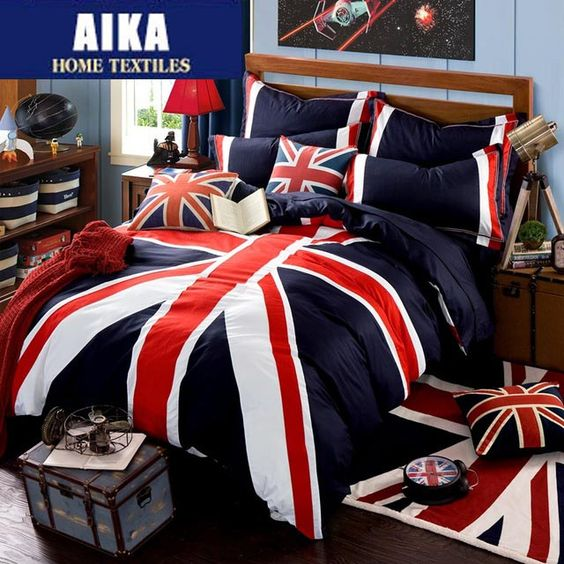 jeux de housse de couette union jack and ensembles de literie on pinterest. Black Bedroom Furniture Sets. Home Design Ideas