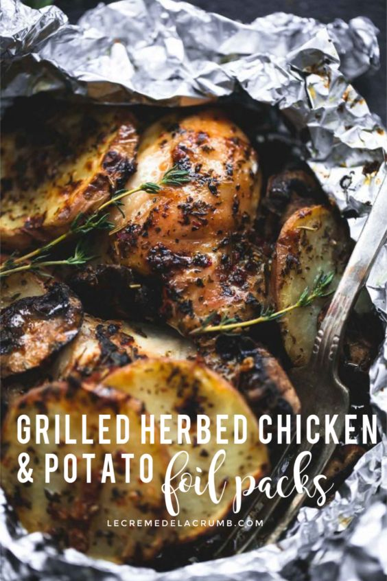 Grilled Herbed Chicken and Potato Foil Packs