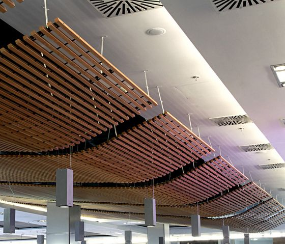 Ceiling panels suspended ceilings wood grid ceiling hunter check it out on architonic - Wood slat ceiling system ...