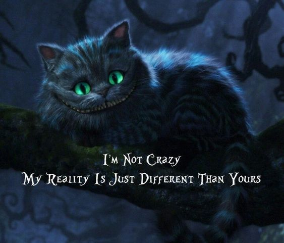 I'm not crazy, my reality is just different than yours... Cheshire cat!!
