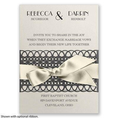 Lattice Shimmer Wedding Invitation by David's Bridal #vintagewedding #weddinginvitation #davidsbridal