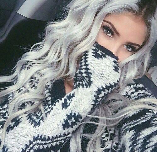 grey hair | girl | long hair | colorful hair | Hair extensions Australia | rubin extensions Check out our website: rubin-extensions.com.au