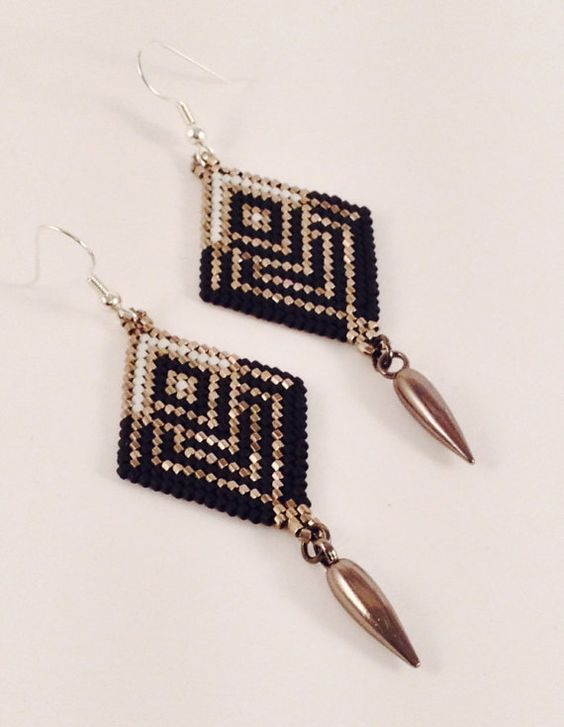 Diamond+Shaped+Black+Widow+Dangle+Earrings+by+Calisi+on+Etsy,+$30.00