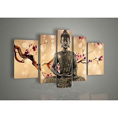 Hand-Painted+Wall+Art+Religion+Buddha+Oil+Painting+on+Canvas+Green+5pcs/set+No+Frame+–+AUD+$+85.79