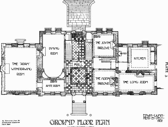 the Great House Leyton Plate 3 Ground floor plan British