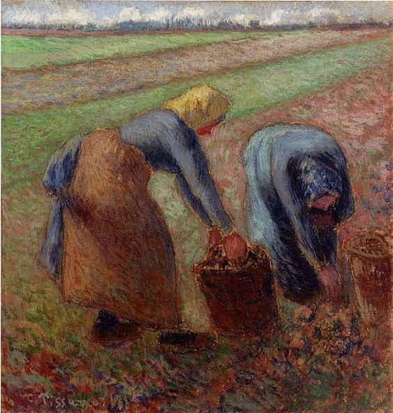Camille Pissarro, paysannes dans un champ.