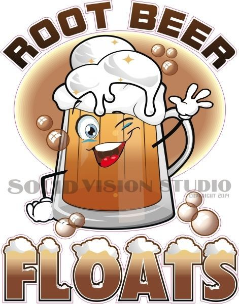 "9"" Root Beer Floats Ice Cream Concession Trailer Food Truck Sign Sticker Decal #SolidVisionStudio"