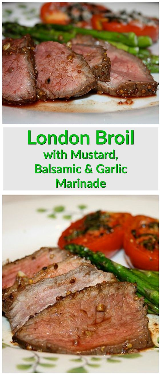 London Broil with Mustard, Balsamic Vinegar and Garlic Marinade - a family dinner favorite. Recipe via aggieskitchen.com