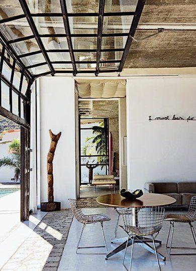 "wow... ""Garage Door"" windows are quite funky, maybe instead of say double patio doors"