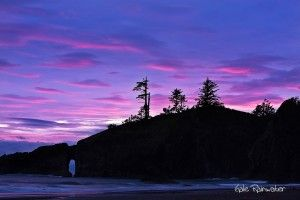 A spectacular sunset on the Pacific Coast, from Second Beach, Olympic National Park, Washington (Gale Rainwater)