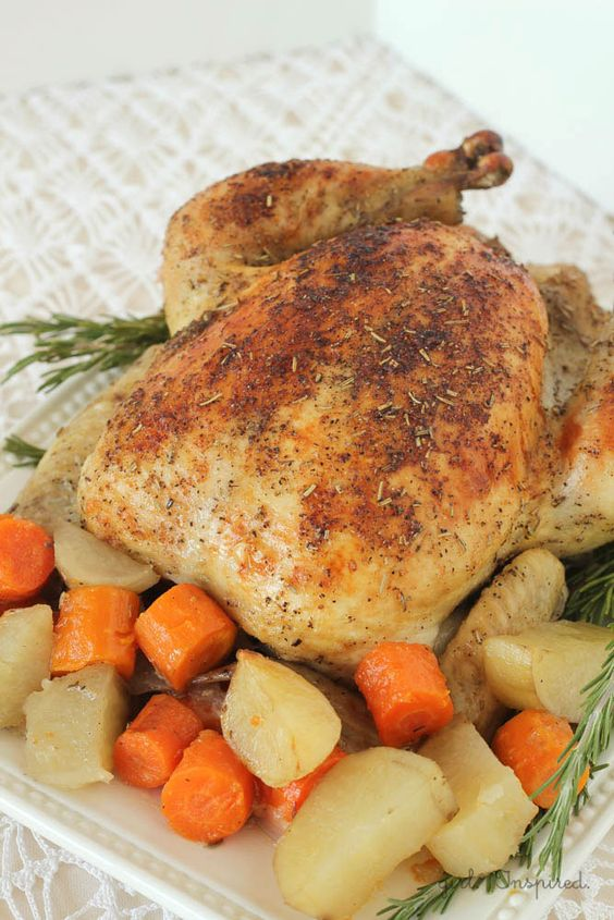 Herb Roasted Chicken Recipe | Vegetables, Root vegetables ...