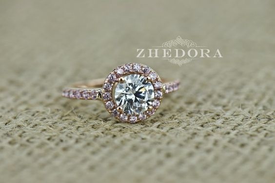 2.50 CT Engagement Ring Round Cut Halo Solid 14k or 18k door Zhedora