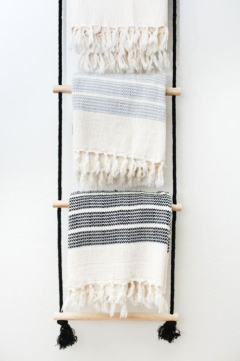 30 Easy Diy Towel Racks Ideas That You Can Do This Blanket Rack Hanging Ladder Diy Towel Rack