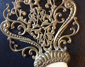 1800s Brass Filigree and Mother of Pearl Setting Hair Comb