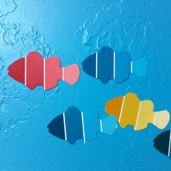 Megan gave me a clown fish template, so I used it on some paint chips we had sitting around! I kind of love the result.