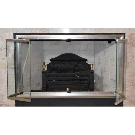 Moonlyte Zero Clearance Fireplace Door Brushed Satin Nickel