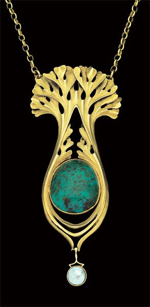 This is not contemporary - image from a gallery of vintage and/or antique objects. PAUL FOLLOT 1877-1941  Art Nouveau Pendant for La Maison Moderne  Gold Turquoise Pearl