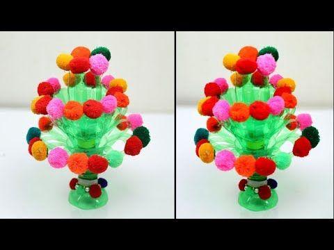 Woolen Pompopm Guldasta Diy Plastic Bottle Bottle Crafts Crafts