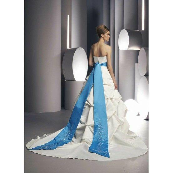 Blue wedding bow