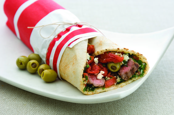 Mediterranean lamb wrap