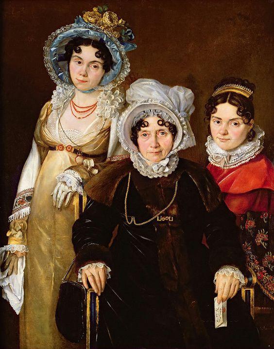 Французская школа (19 век) - Портрет мадам Тангри с дочерьми:
