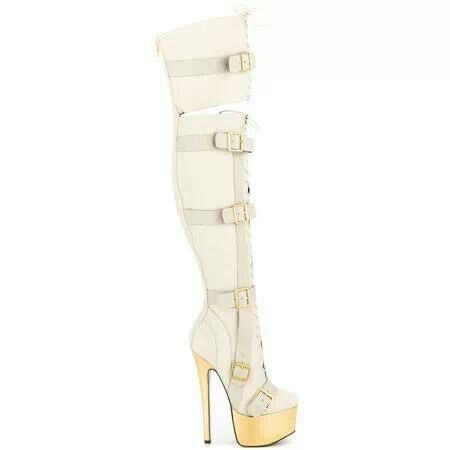white thigh high boot with gold heel | Shoe Fetish | Pinterest ...