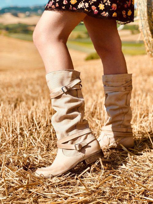 Stivali Estivi Traforati con Fibbia Tacco Basso Color