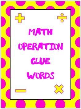 Worksheets Mathematical Story About  Addition,subtraction,multiplication And Division math operation clue word posters palavras dr who e these are for addition subtraction multiplication and division the