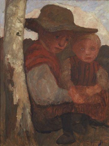 Sitzendes Mädchen mit Strohhut und Kind auf dem Schoß by Paula Modersohn-Becker