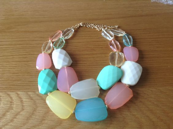 Bubble Pastel Bead Double Chain Gold Necklace - www.shiverywicks.com