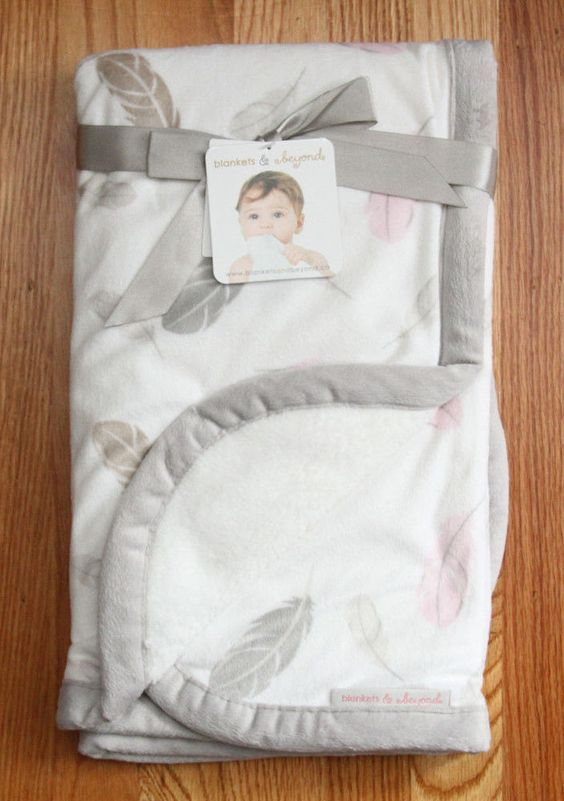 Blankets & Beyond Baby Girl Blanket ~ White, Gray & Pink ~ Feather Print ~ #Blankets&Beyond #Babygirl