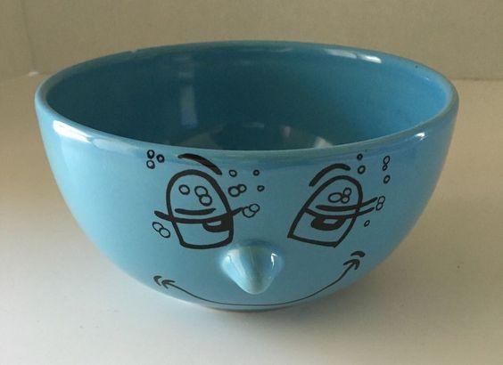 Livingware Collection Bowl 3D Nose Smiley Face Light Blue #Livingware