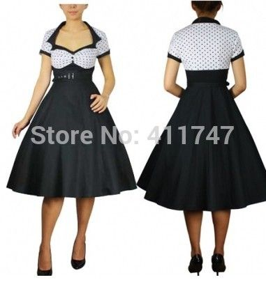 50s Vintage Dress White Bodice Rockabilly Polka Dot Dress 50s Swing Dress Plus Size S-6XL