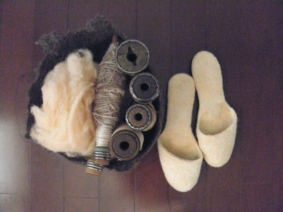 Natural Hand Dyed Peach Wool Felted Slippers by momoish on Etsy, $120.00