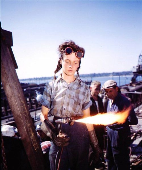 A 12 year old girl welder for the Australian Air Force in 1943, WWII