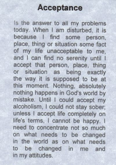 Acceptance. One of my most favorite pieces ever written. This piece helps bring me back anytime I am in a funk.